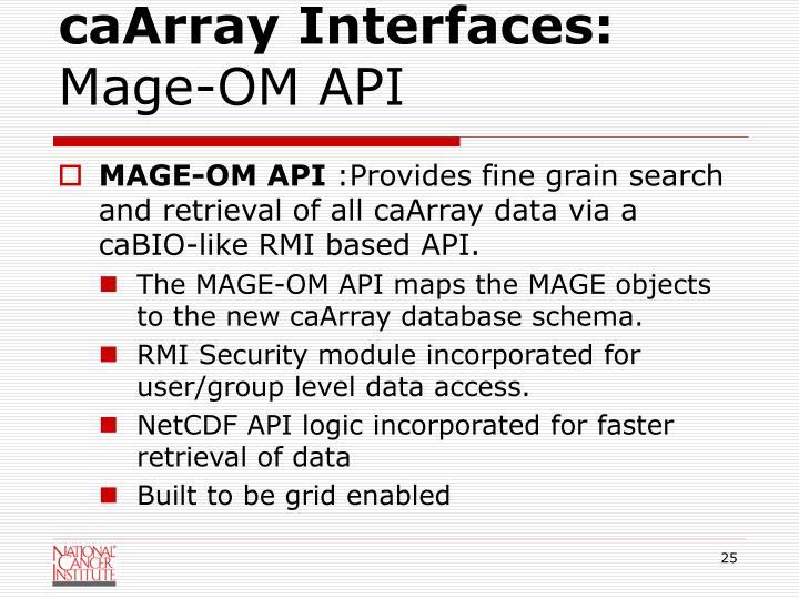 caArray Interfaces:
