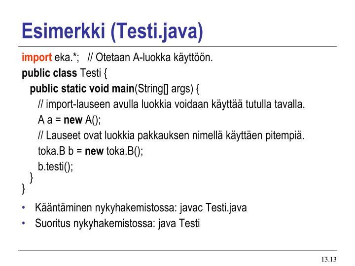 Esimerkki (Testi.java)