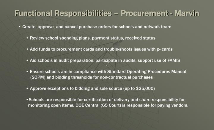 Functional Responsibilities – Procurement - Marvin