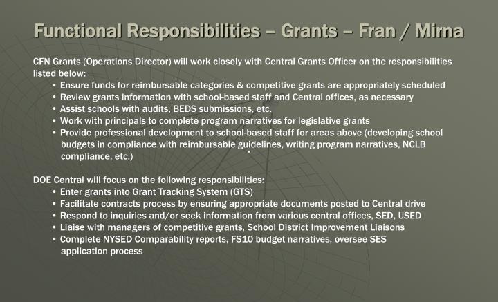 Functional Responsibilities – Grants – Fran / Mirna