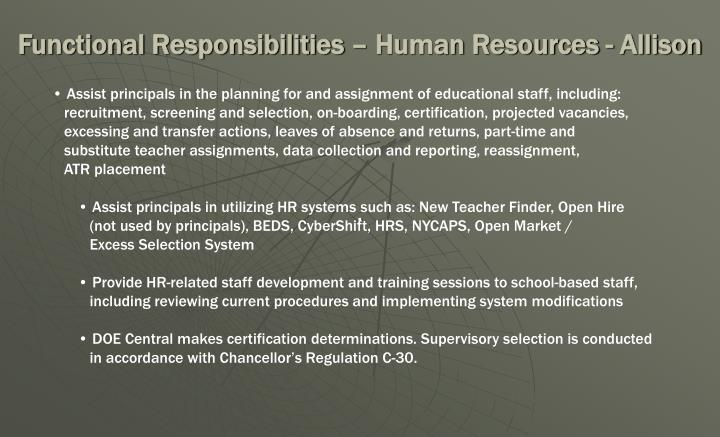 Functional Responsibilities – Human Resources - Allison