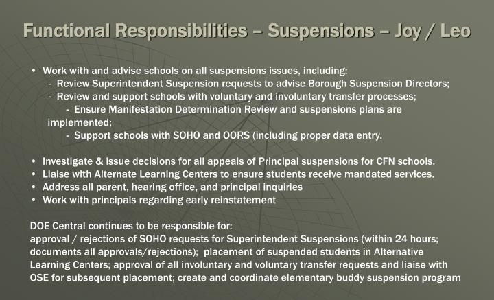 Functional Responsibilities – Suspensions – Joy / Leo