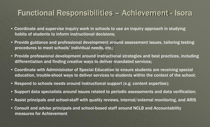 Functional Responsibilities – Achievement - Isora