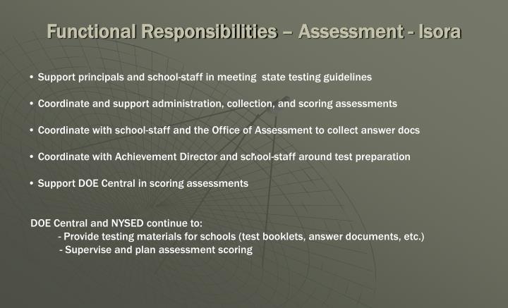 Functional Responsibilities – Assessment - Isora