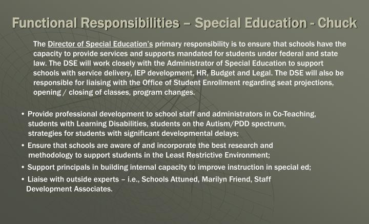 Functional Responsibilities – Special Education - Chuck