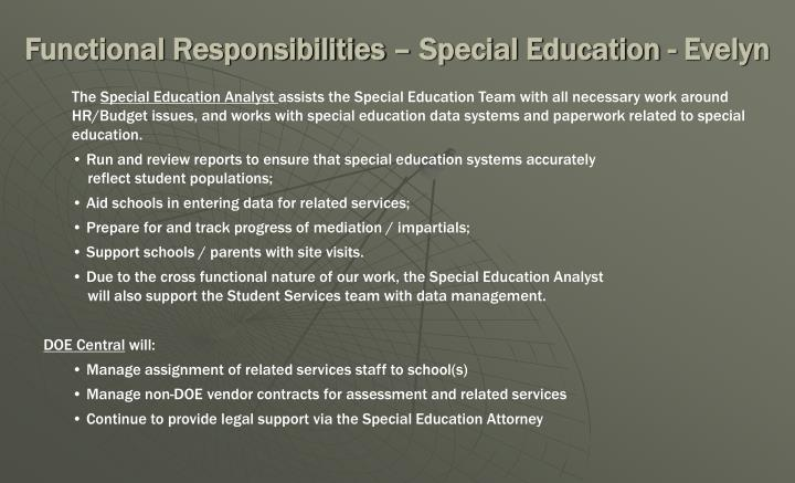 Functional Responsibilities – Special Education - Evelyn