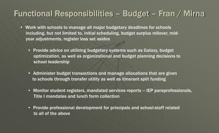 Functional Responsibilities – Budget – Fran / Mirna