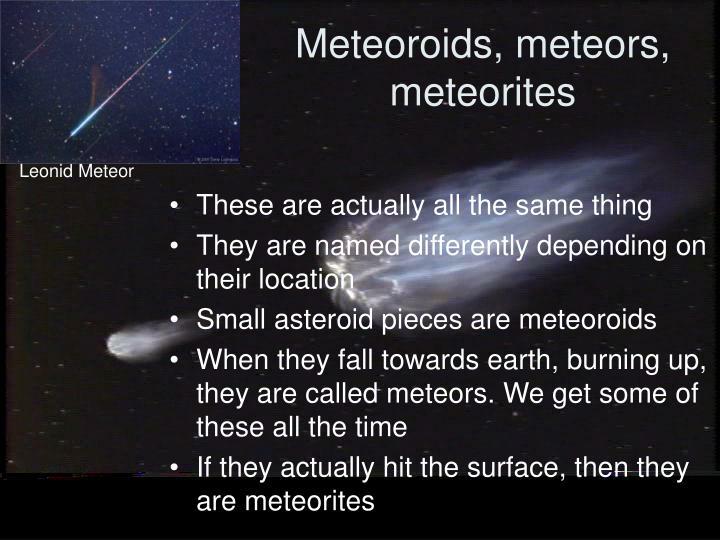 Meteoroids, meteors, meteorites