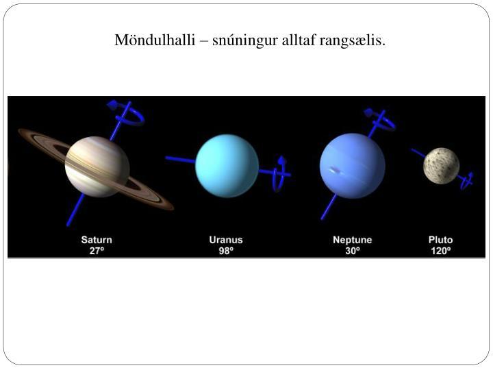 Möndulhalli – snúningur alltaf rangsælis.