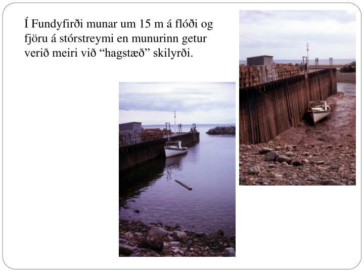 Í Fundyfirði munar um 15 m á flóði og