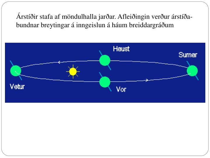 Árstíðir stafa af möndulhalla jarðar. Afleiðingin verður árstíða-