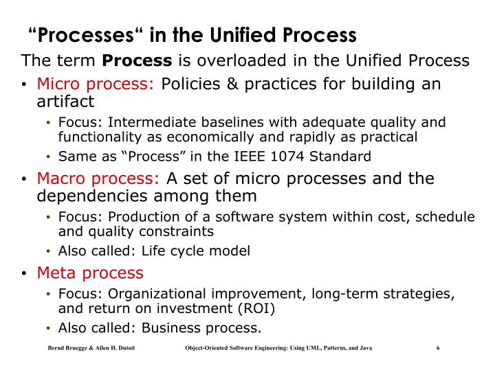 """Processes"" in the Unified Process"