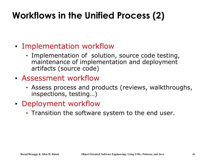 Workflows in the Unified Process (2)