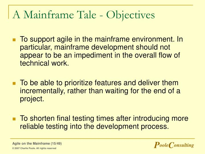 A Mainframe Tale - Objectives