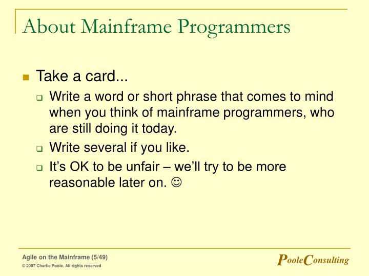 About Mainframe Programmers