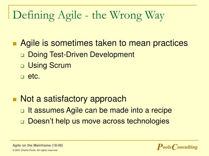 Defining Agile - the Wrong Way