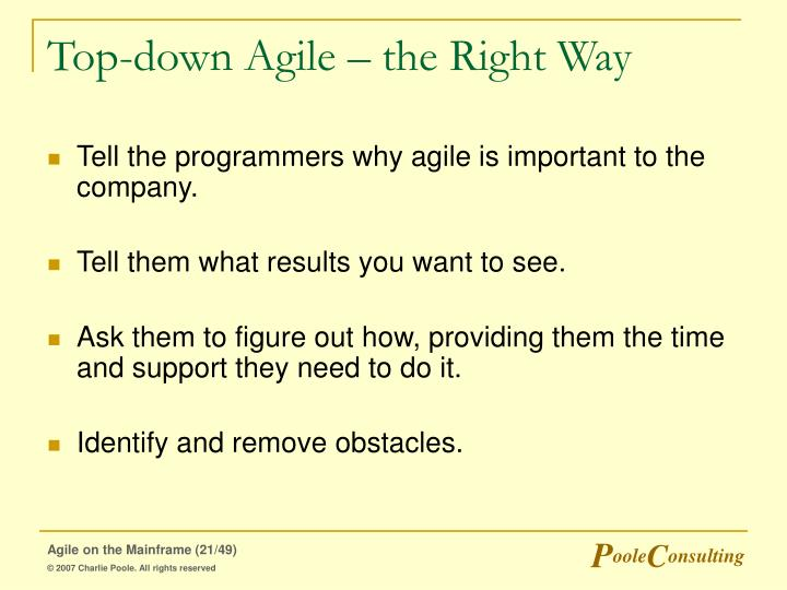 Top-down Agile – the Right Way