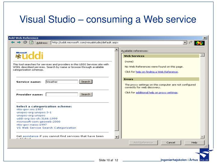 Visual Studio – consuming a Web service