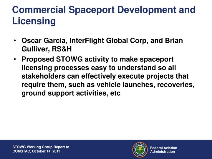 Commercial Spaceport Development and Licensing