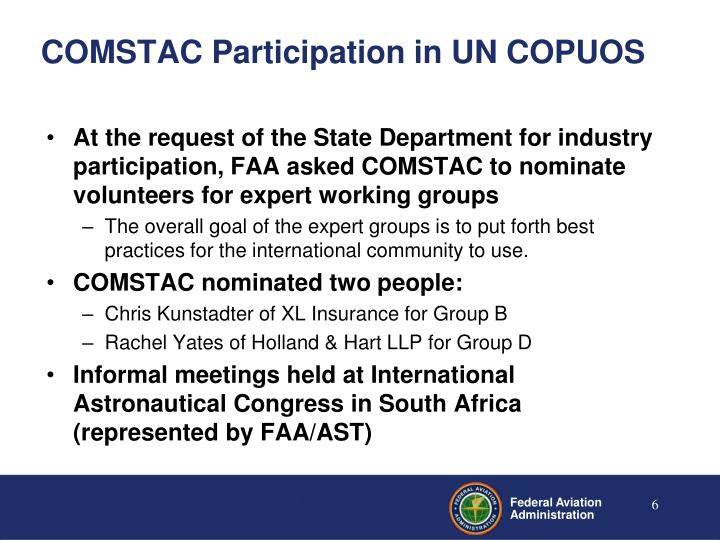 COMSTAC Participation in UN COPUOS