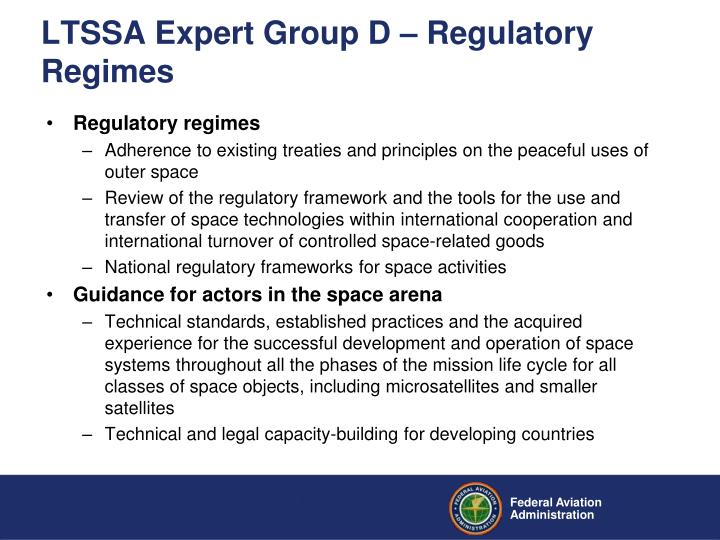 LTSSA Expert Group D – Regulatory Regimes