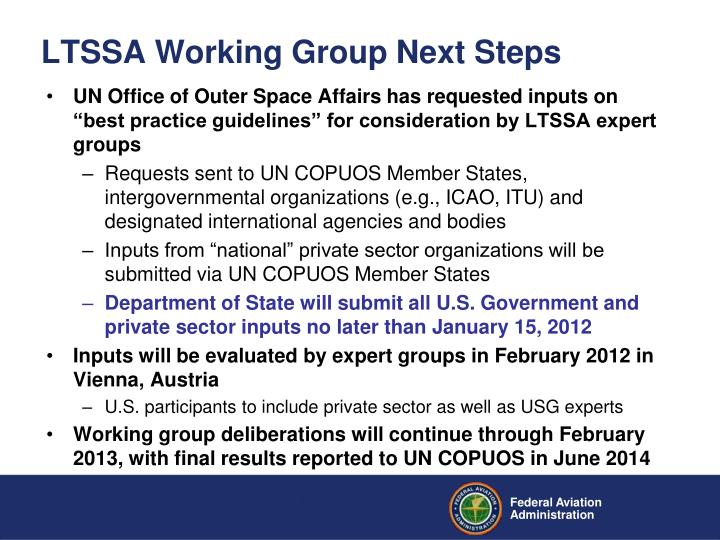 LTSSA Working Group Next Steps