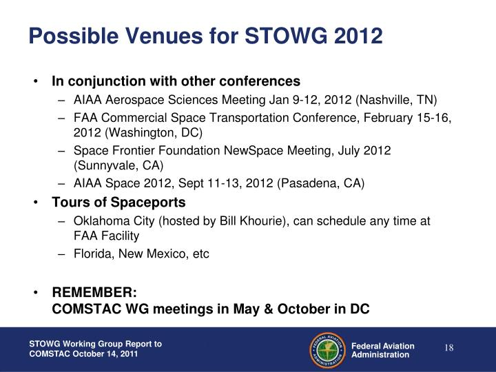 Possible Venues for STOWG 2012