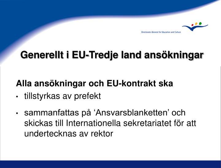 Generellt i EU-Tredje land ansökningar