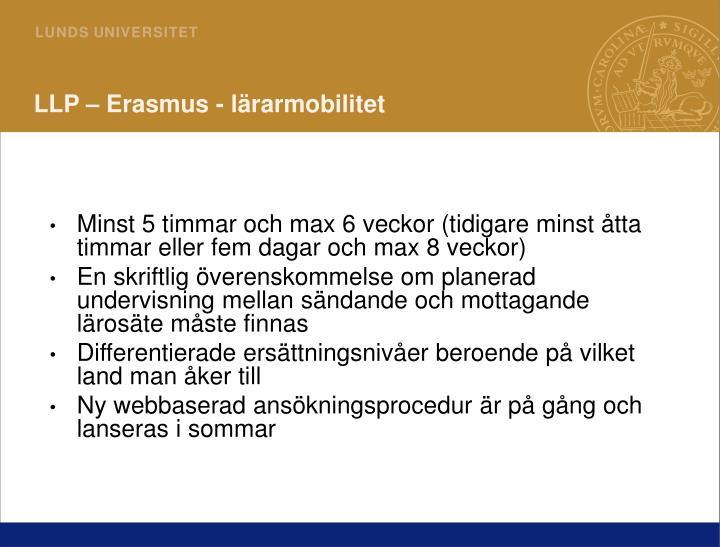 LLP – Erasmus - lärarmobilitet