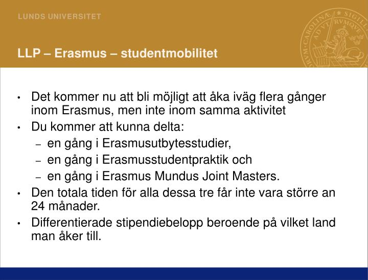 LLP – Erasmus – studentmobilitet