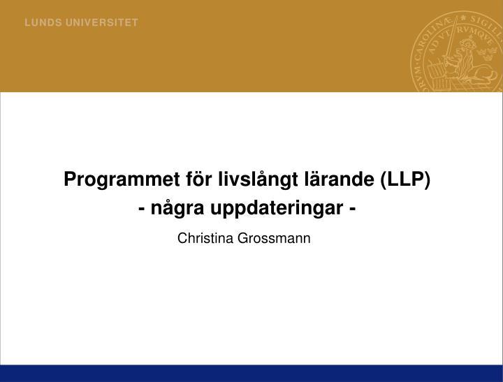 Programmet för livslångt lärande (LLP)