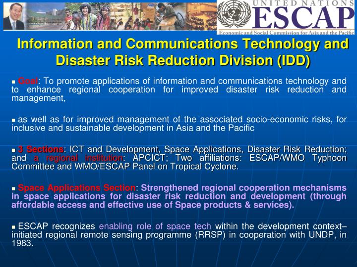Information and Communications Technology and Disaster Risk Reduction Division (IDD)