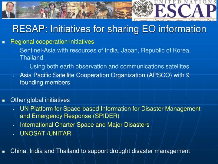 RESAP: Initiatives for sharing EO information