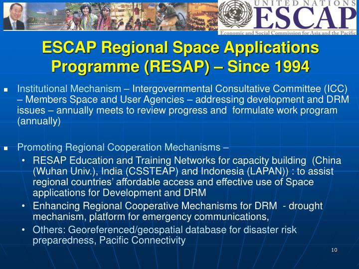 ESCAP Regional Space Applications
