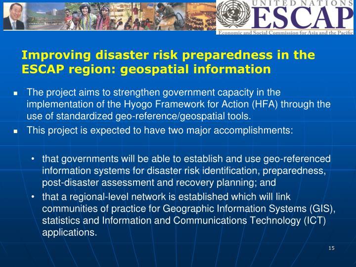 Improving disaster risk preparedness in the ESCAP region: geospatial information