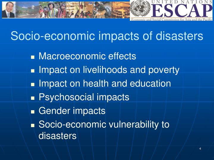 Socio-economic impacts of disasters