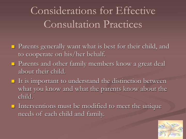 Considerations for Effective Consultation Practices