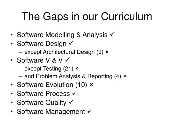 The Gaps in our Curriculum