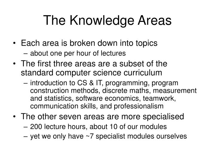 The Knowledge Areas