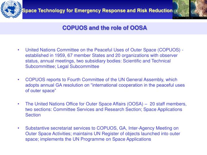 COPUOS and the role of OOSA
