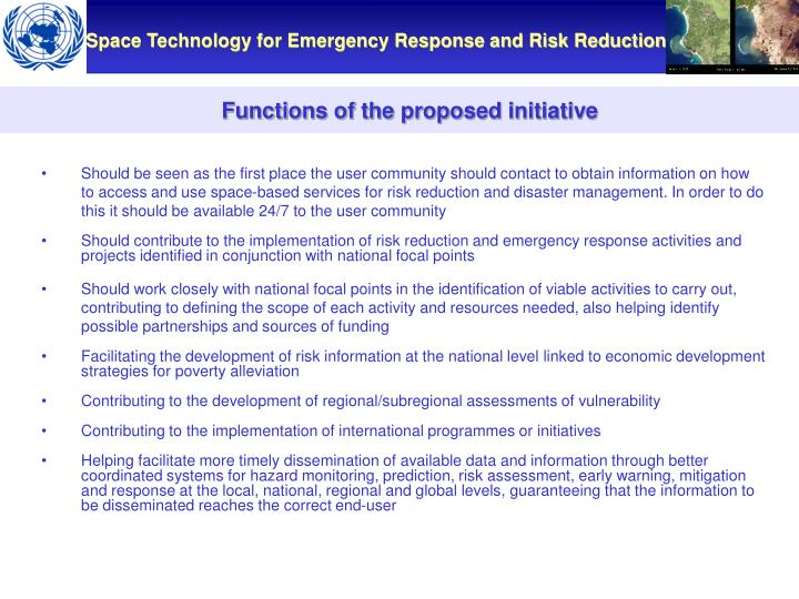 Functions of the proposed initiative
