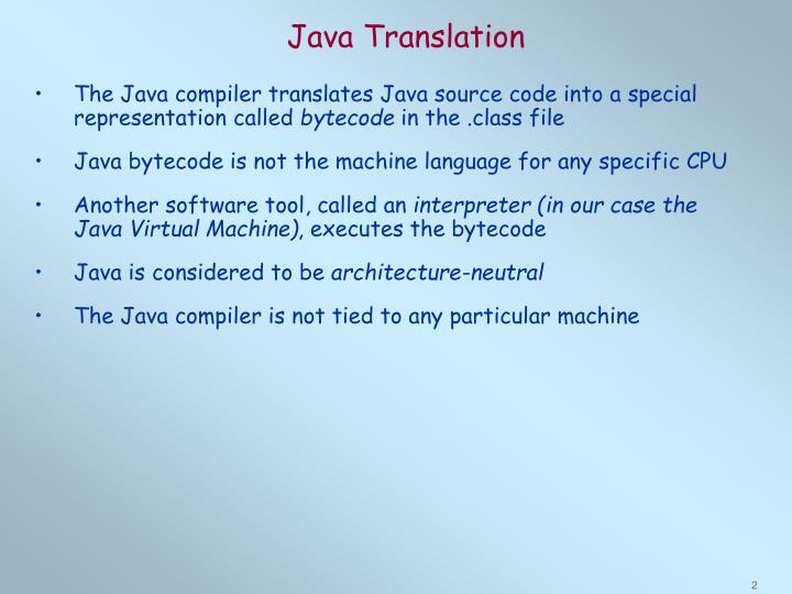 Java Translation