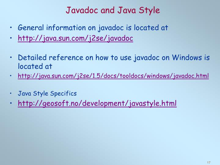 Javadoc and Java Style