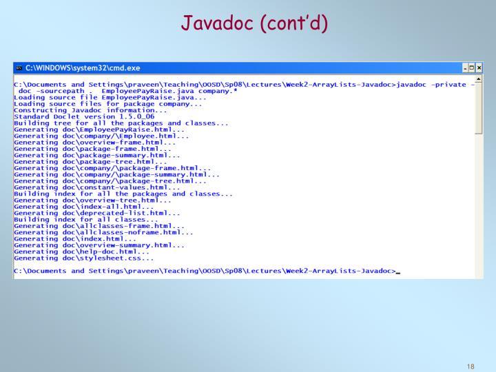 Javadoc (cont'd)