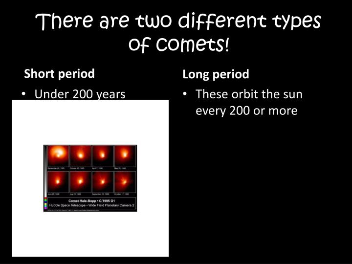 There are two different types of comets!