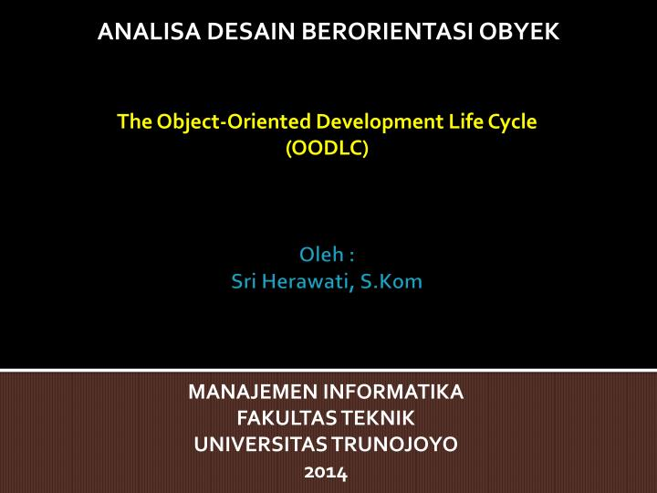 The Object-Oriented Development Life Cycle