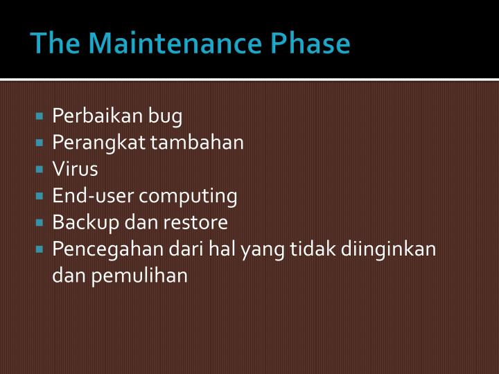 The Maintenance Phase