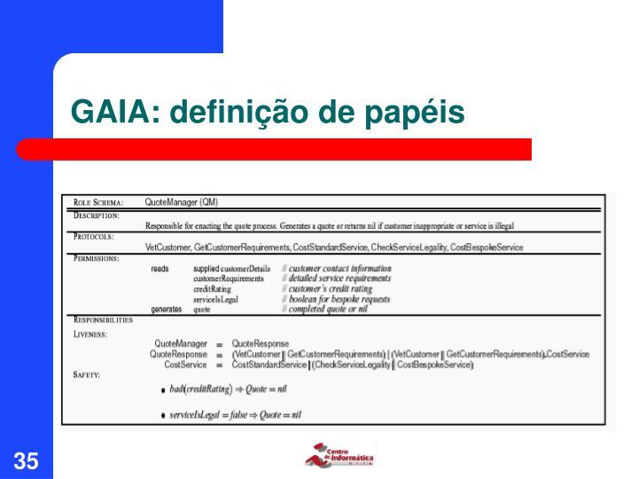 GAIA: definição de papéis