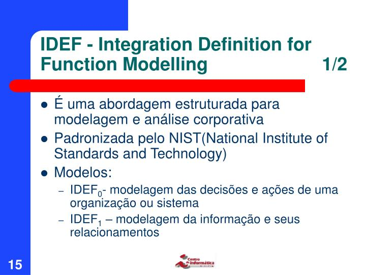 IDEF - Integration Definition for Function Modelling      1/2