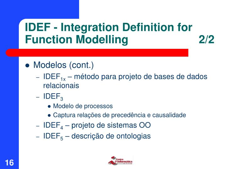IDEF - Integration Definition for Function Modelling      2/2